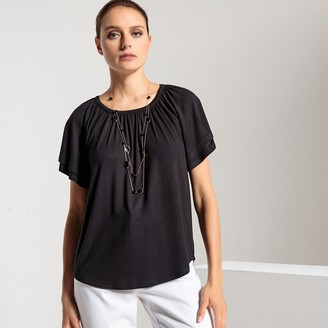 Anne Weyburn Crew Neck T-Shirt with Short Butterfly Sleeves