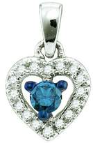 DazzlingRock Collection 0.21 Carat (ctw) 10k White Gold Blue & White Diamond Ladies Heart Pendant