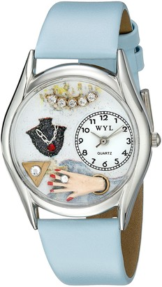 Whimsical Watches Jewelry Lover Blue Baby Blue Leather and Silvertone Unisex Quartz Watch with White Dial Analogue Display and Multicolour Leather Strap S-1010008