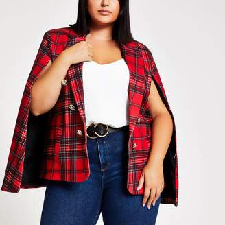 River Island Womens Plus Red tartan crested button cape blazer