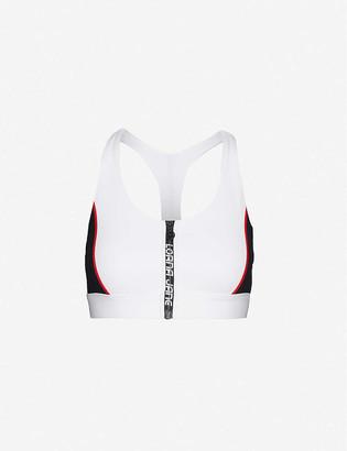 Lorna Jane Moto Cross logo-print stretch-woven bra