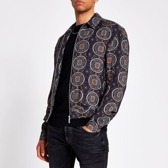 River Island Mens Navy printed zip front long sleeve overshirt