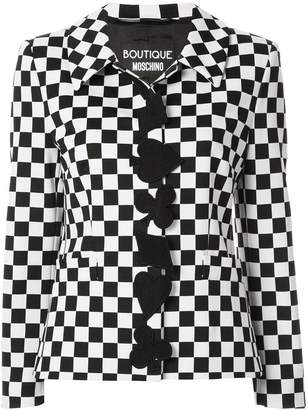 Moschino fitted check print jacket