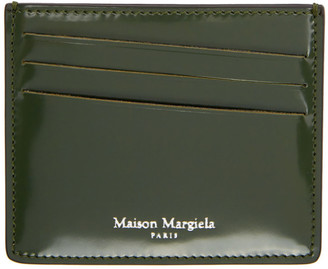 Maison Margiela Green and Black Leather Card Holder