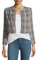 IRO Hella Frayed-Trim Cropped Tweed Jacket, Blue/Multicolor