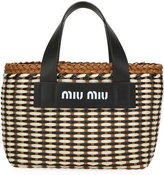 Miu Miu Intreccio Woven Tote Bag