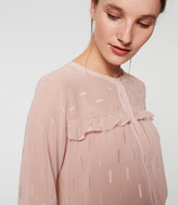 LOFT Shimmer Embroidered Ruffle Blouse