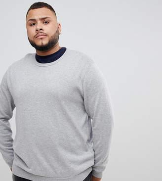 Jack and Jones Essentials knitted crew neck jumper in grey