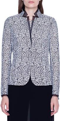 Akris Embroidered Lace & Chiffon Blazer Jacket
