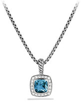 David Yurman Petite Albion Pendant with Hampton Blue Topaz and Diamonds on Chain