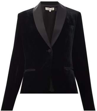 Diane von Furstenberg Hermia Satin-trimmed Velvet Tuxedo Jacket - Womens - Black