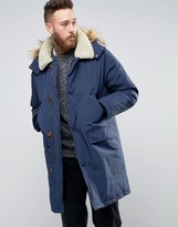 Asos Parka Jacket With Borg Collar In Navy