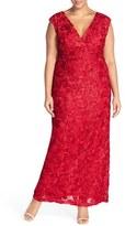 Marina Plus Size Women's V-Neck Sequin Lace Empire Gown
