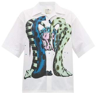 Marni Bruno Bozzetto Octopus-print Cotton Shirt - Mens - White Multi