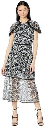 ML Monique Lhuillier Short Sleeve Embroidered Mesh Midi Dress w/ Trim Detail (French Blue Multi) Women's Dress