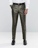 Asos Slim Suit Trousers In Gold Pattern