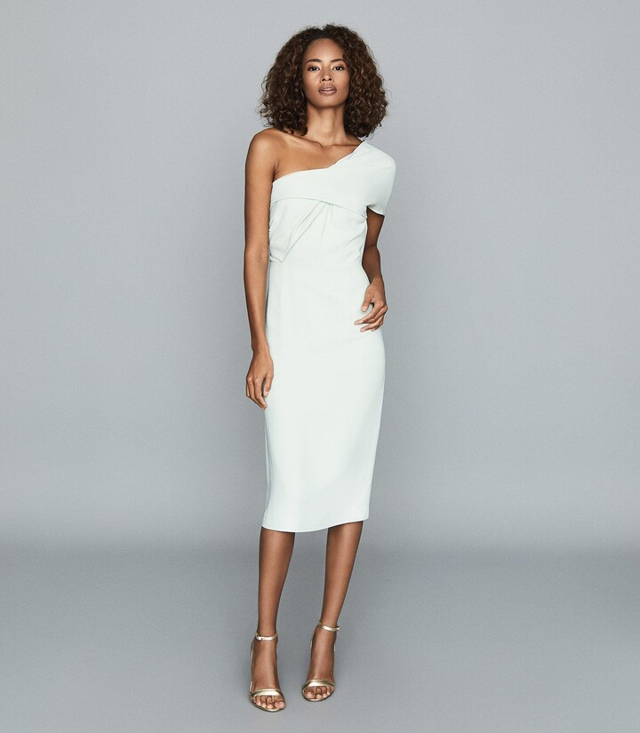 Reiss Riana - One Shoulder Bodycon Dress in Aqua