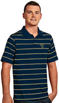 Antigua Men's West Virginia Mountaineers Deluxe Striped Desert Dry Xtra-Lite Performance Polo