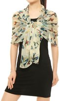 uxcell® Women Rectangle Sheer Chiffon Wrap Floral Butterfly Prints Shawl
