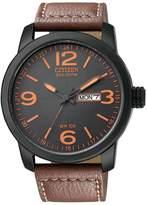 Citizenx Citizen #BM8475-26E Men's Eco Drive Brown Leather Strap Dial Analog Watch
