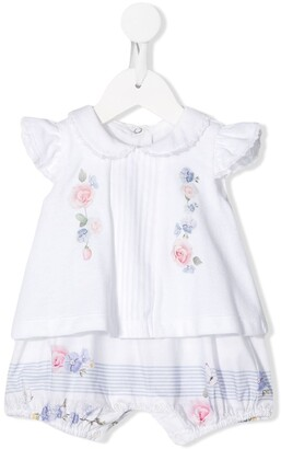 Lapin House Floral-Print Top & Bloomers Set