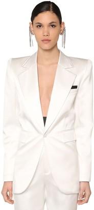 Saint Laurent Duchess Silk Blend Blazer W/satin Cuffs