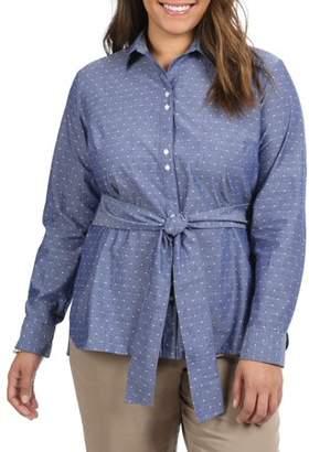 Lee Riders Women's Plus Long Sleeve Tie Waist Shirt