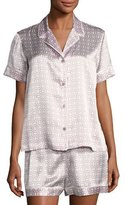 Natori Geometric-Print Short Silk Pajama Set, Purple Pattern