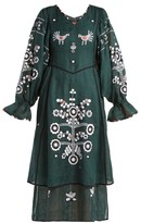 Vita Kin - Country Bird And Floral-embroidered Linen Dress - Womens - Dark Green
