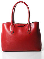 Lauren Ralph Lauren Red Leather Gold Tone Double Handle Tote Handbag