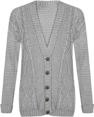 21Fashion Ladies Fancy Chunky Cable Knitted Grandad Cardigan Womens Pockets V Neck Sweater Light Grey Small/Medium