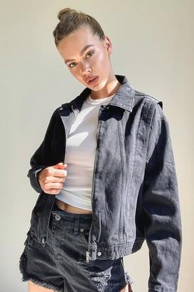 boohoo 80's Cropped Seam Denim Jacket