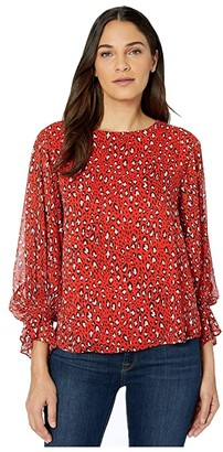 Sanctuary Rylee Volume Smocked Sleeve Blouse (Red Hot Leopard) Women's Clothing