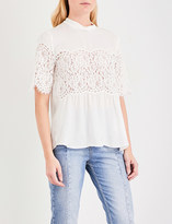 Sandro Floral-lace and satin-twill top