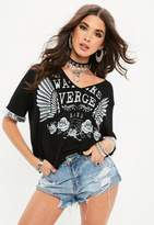 Missguided Black Sequin Graphic T Shirt