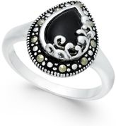 Macy's Onyx (5/8 ct. t.w.) and Marcasite Ring in Fine Silver-Plate