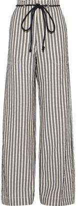 Ann Demeulemeester Striped Cotton And Ramie-blend Wide-leg Pants