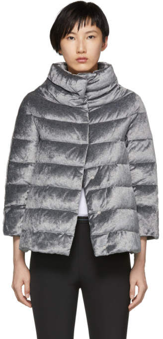 Herno Silver Down Shimmering Cape Jacket