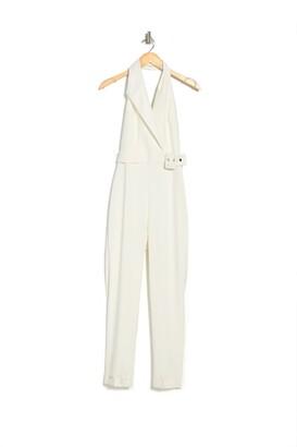 Reiss Belinda Belted Waist Tux Jumpsuit
