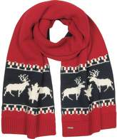 DSQUARED2 Nordic Deers Burgundy and Navy Blue Wool Blend Knit Scarf