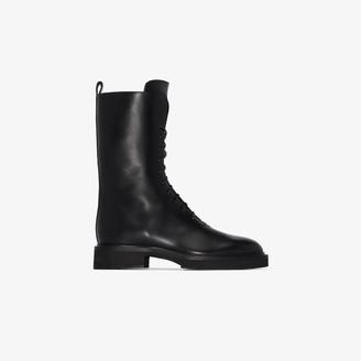 KHAITE black Conley leather boots
