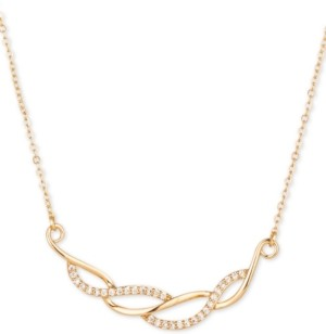 "Charter Club Gold-Tone Pave Wave Frontal Necklace, 17"" + 2"" extender, Created for Macy's"
