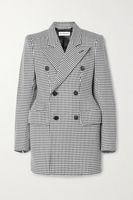 Balenciaga Hourglass Double-breasted Houndstooth Wool-blend Blazer - Black