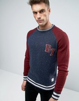 Bellfield Baseball Style Crew Neck Knitted Jumper