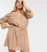 In The Style Plus x Stephsa exclusive frilly button through skater dress in tan polka print
