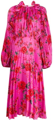 Magda Butrym silk floral long-sleeve dress