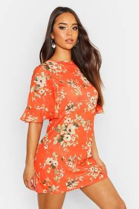 boohoo Woven Floral Keyhole Shift Dress