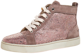 Christian Louboutin Pink Crystal Embellished Suede Leather Louis High Top Sneakers Size 37