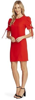 CeCe Puffed Keyhole Tie Sleeve Moss Crepe Dress (Candy Apple) Women's Dress