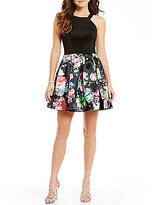 Teeze Me Solid Scuba Bodice to Floral-Print Pleated Skirt Skater Dress